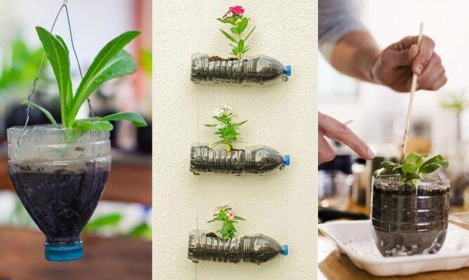 como hacer maceteros colgantes con botallas de plástico