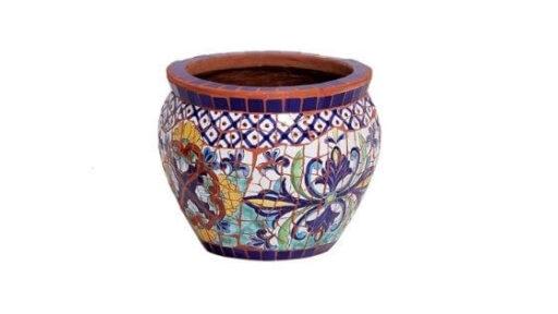 macetas con mosaicos