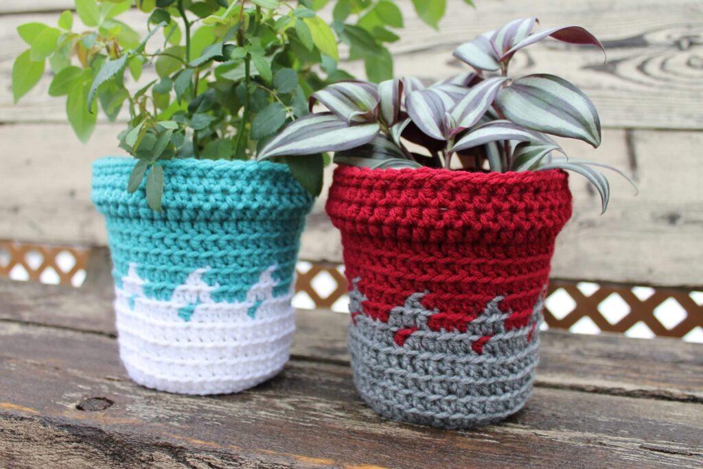 maceteros tejidos a crochet