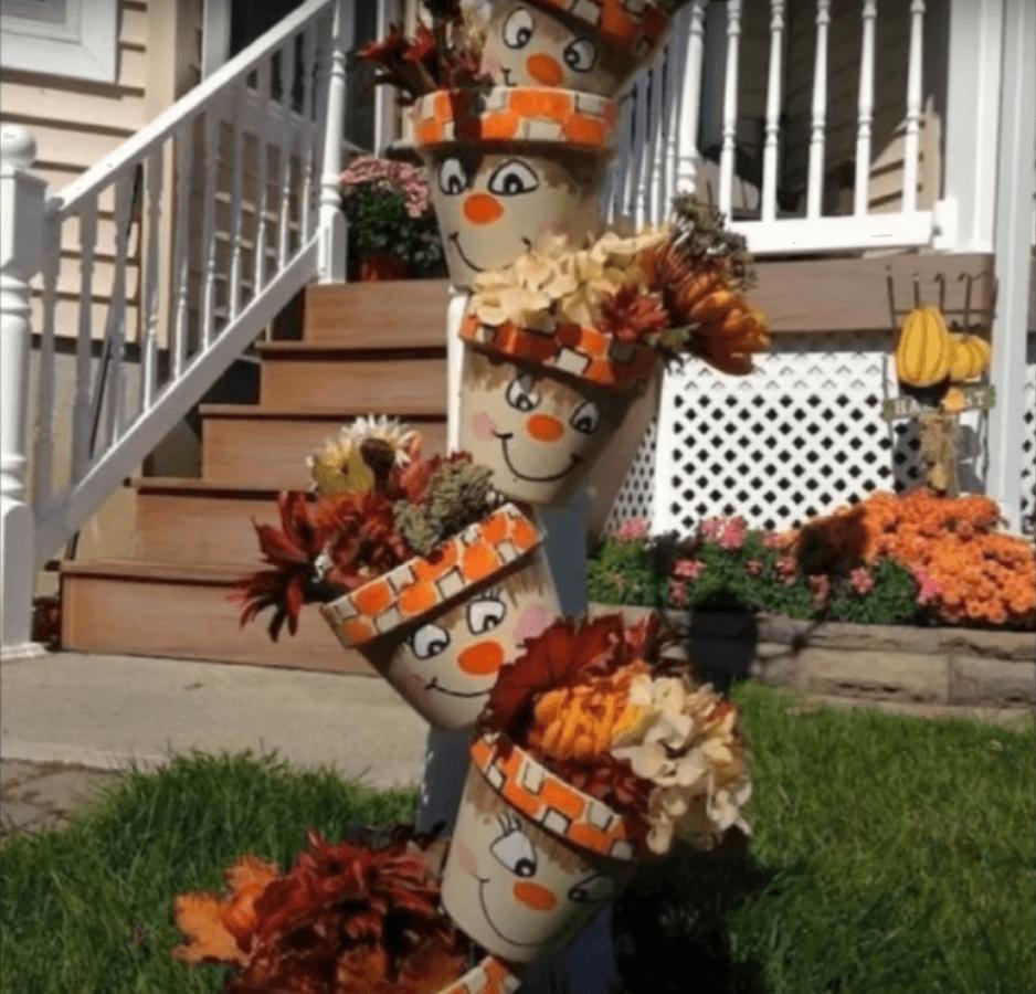 muñecos fabricados con macetas